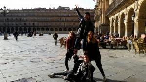 4 élèves sur la Plaza Mayor